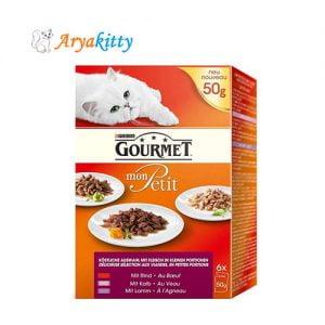گورمت گربه سه طعم گوشت قرمز - gourmet with beef & veal