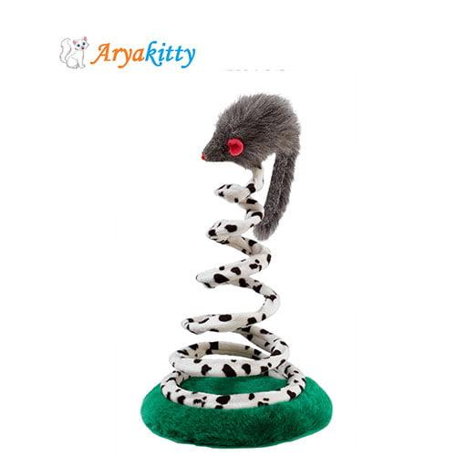 اسباب بازی گربه موش با فنر پلاستیکی - ferplast cat toy
