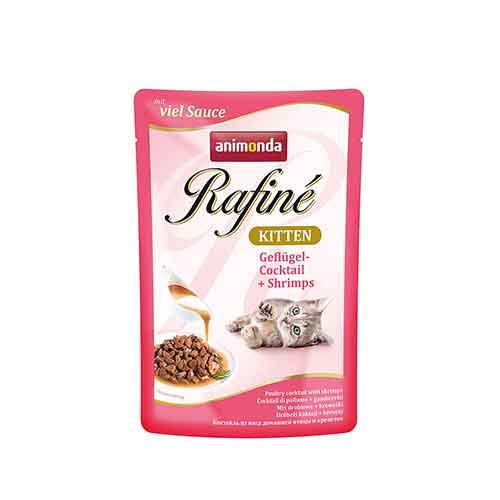 پوچ بچه گربه حاوی گوشت پرندگان و میگو - animonda rafine kitten