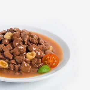 پوچ گربه با گوشت گاو و پاستا در سس گوجه - rafine pouch